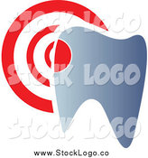 Vector Clipart of a Dentistry Tooth and Target Logo by Vector Tradition SM