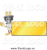 Vector Clipart of a Electric Plug Waving by a Gold Plaque Logo by Toons4Biz