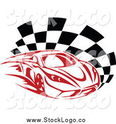Vector Clipart of a Fast Red Race Car and Checkered Flag Motorsports Logo by Vector Tradition SM