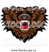 Vector Clipart of a Fierce Roaring Brown Bear Logo by Vector Tradition SM