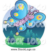 Vector Clipart of a Flying Happy Butterfly Logo by Visekart