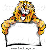 Vector Clipart of a Friendly Lion Holding out a Sign Logo by Chromaco