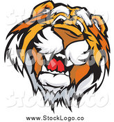 Vector Clipart of a Friendly Tiger Face Logo by Chromaco