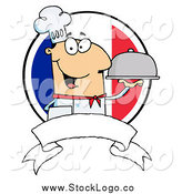Vector Clipart of a Friendly White Male Chef Holding a Platter over a Blank Banner and Round French Flag by Hit Toon