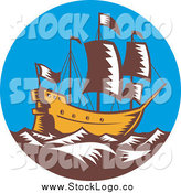 Vector Clipart of a Galleon Ship at Sea by Patrimonio