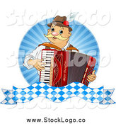 Vector Clipart of a German Oktoberfest Man Playing an Accordion Logo by Pushkin