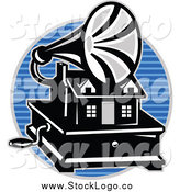 Vector Clipart of a Gramaphone over a Blue Lined Circle Logo by Patrimonio