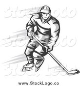 Vector Clipart of a Grayscale Ice Hockey Player Logo by Vector Tradition SM
