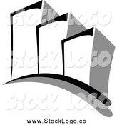 Vector Clipart of a Grayscale Skyscraper Logo by Vector Tradition SM
