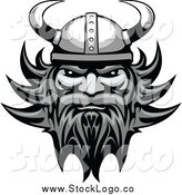 Vector Clipart of a Grayscale Tough Male Viking Face Logo by Vector Tradition SM