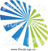 April 13th, 2014: Vector Clipart of a Green and Blue Ray Burst Logo by Cidepix
