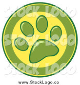 June 8th, 2014: Vector Clipart of a Green and Yellow Dog Paw Print Logo by Hit Toon