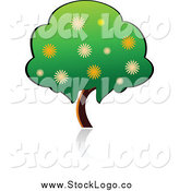 Vector Clipart of a Green Fruit Tree Logo by Vector Tradition SM