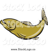 Vector Clipart of a Green Herring Fish Logo by Patrimonio