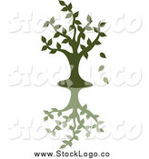 Vector Clipart of a Green Silhouetted Tree Dropping Leaves, with a Shadow by Pams Clipart