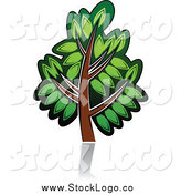 Vector Clipart of a Green Tree Logo by Vector Tradition SM