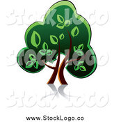Vector Clipart of a Green Tree with a Reflection Logo by Vector Tradition SM