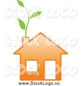 Vector Clipart of a Green Vine Growing from an Eco Orange Home by Vector Tradition SM