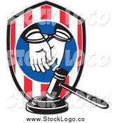 Vector Clipart of a Handcuffed Hands, Shield and Judge Gavel Legal Logo by Patrimonio