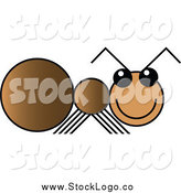 Vector Clipart of a Happy Brown Ant Logo by Vector Tradition SM