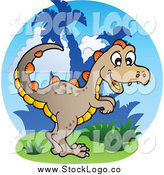 Vector Clipart of a Happy Dinosaur Logo by Visekart