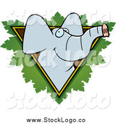 Vector Clipart of a Happy Elephant Face over a Safari Triangle with Leaves by Cory Thoman
