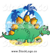 Vector Clipart of a Happy Green Stegosaur Logo by Visekart