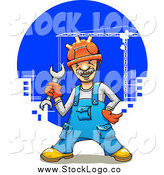 Vector Clipart of a Happy White Male Construction Worker over Cranes by Vector Tradition SM