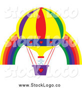 Vector Clipart of a Hot Air Balloon Ove a Rainbow Arch by Pams Clipart