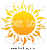 Vector Clipart of a Hot Summer Sun Summer Logo by Elena