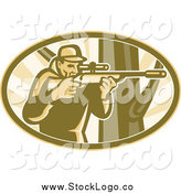 Vector Clipart of a Hunter Aiming a Telescope Rifle by a Tree in an Oval Logo by Patrimonio