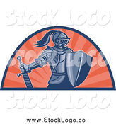Vector Clipart of a Knight with Shield and Sword and Orange Rays Logo by Patrimonio