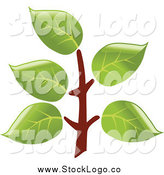 Vector Clipart of a Leafy Branch Logo by Vector Tradition SM