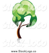Vector Clipart of a Leaning Gree Tree Logo by Vector Tradition SM