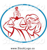 June 20th, 2014: Vector Clipart of a Legal Blind Justice Holding Scales Logo by Patrimonio