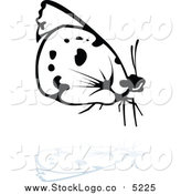Vector Clipart of a Logo of a Black and White Butterfly and Reflection, Facing Right by Dero