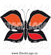 Vector Clipart of a Logo of a Black, Red and Orange Butterfly by Vector Tradition SM