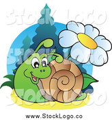 Vector Clipart of a Logo of a Happy Snail and Daisy Flower by Visekart