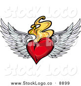 Vector Clipart of a Logo of a Red Winged Heart with Flames by Vector Tradition SM