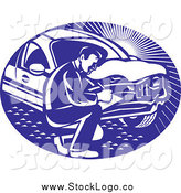 Vector Clipart of a Logo of a Retro Insurance Adjuster Crouching by a Damaged Car by Patrimonio