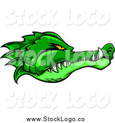 Vector Clipart of a Logo of a Tough Green Alligator Head Profile by Vector Tradition SM
