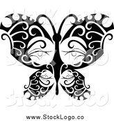 Vector Clipart of a Logo of a Tribal Black and White Butterfly by Vector Tradition SM