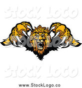 Vector Clipart of a Logo of an Attacking Lion Jumping Forward with Sharp Claws by Chromaco