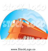 Vector Clipart of a Logo of an Orange Diesel Train by Patrimonio