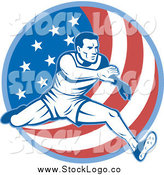 October 13th, 2014: Vector Clipart of a Male Athlete Running over an American Flag Circle Logo by Patrimonio