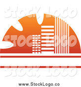 Vector Clipart of a Orange Skyscraper Logo by Vector Tradition SM