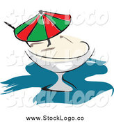 Vector Clipart of a Pina Colada with a Parasol by Vector Tradition SM