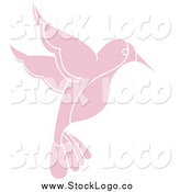 Vector Clipart of a Pink Flying Hummingbird by Pams Clipart