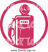 Vector Clipart of a Pink Gas Pump Logo by Patrimonio