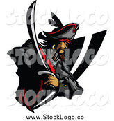 Vector Clipart of a Pirate and Sword Badge Logo by Chromaco